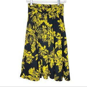 NWT Agnes & Dora Black Yellow Floral Midi Skirt
